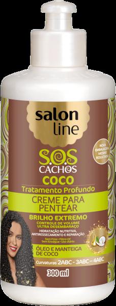 CREME PARA PENTEAR COCO S.O.S CACHOS, 300, 500 ml e 1kg